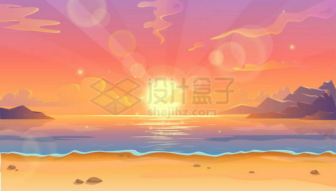 海边的日出日落唯美漫画风景图7714316矢量图片免抠素材免费下载