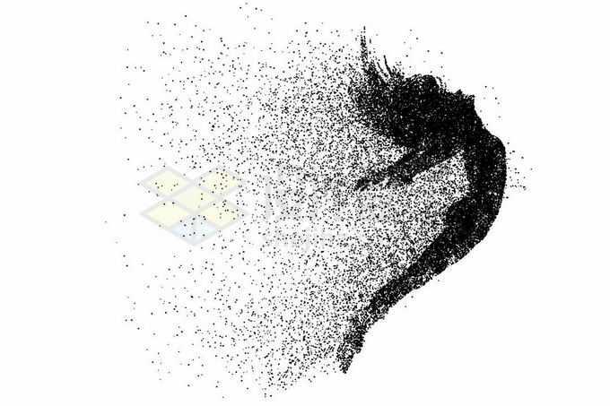 抽象动感粒子风格张开双臂跳跃起来的长发美女剪影1398624矢量图片免抠素材免费下载