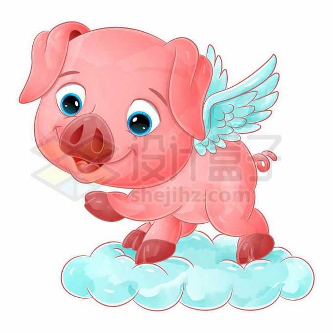 长翅膀的卡通飞猪站在云朵上7098899矢量图片免抠素材免费下载
