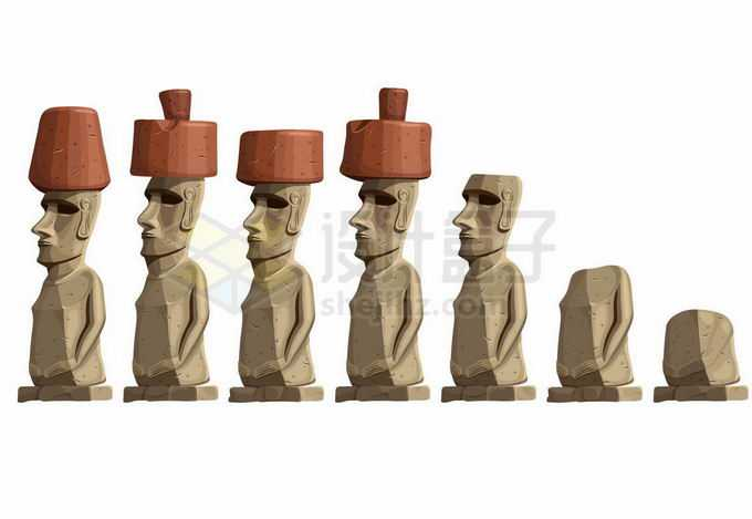 各种复活节岛雕像摩艾插画6490096矢量图片免抠素材免费下载