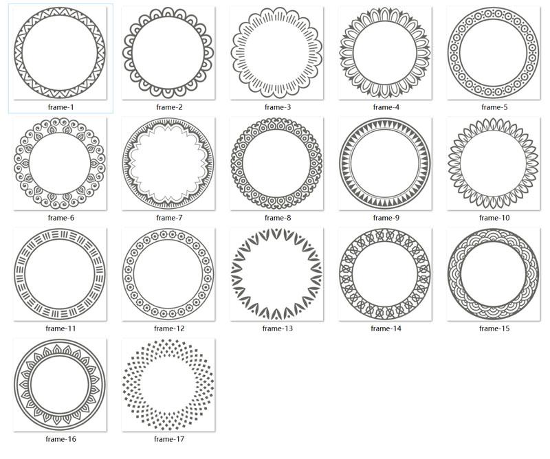 17款圆形花纹装饰边框免抠图片素材合集【AI+EPS+PNG+SVG格式】