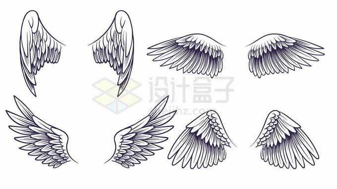 4款天使羽毛翅膀手绘线条插画3135773矢量图片免抠素材免费下载