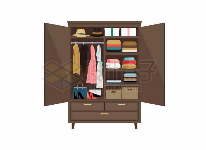 打开的衣柜中放满了各种衣物家具5521111矢量图片免抠素材免费下载