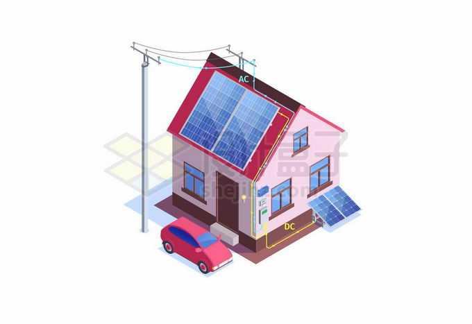 家用太阳能电池板铺设在房屋顶部清洁能源发电赚钱1287548矢量图片免抠素材免费下载
