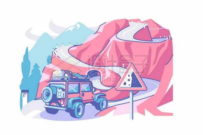 越野车行驶在盘山公路上小心落石滚落4341930矢量图片免抠素材免费下载