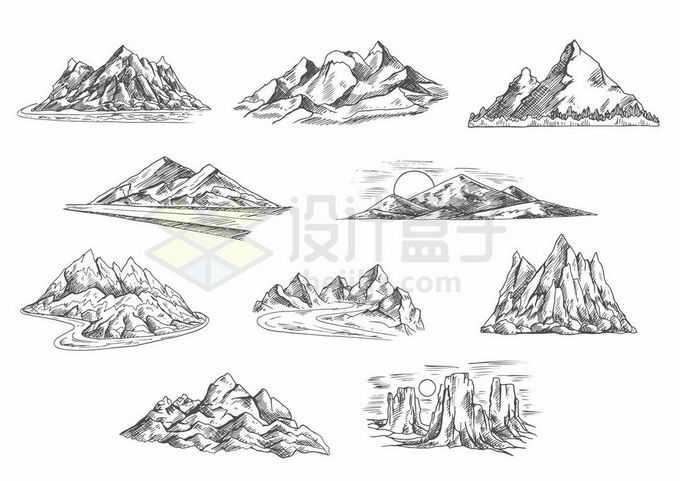 10款手绘风格山脉大山高山雪山冰河等风景图2071931矢量图片免抠素材免费下载