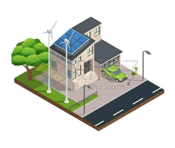 2.5D风格风力发电太阳能发电绿色智能家居小别墅1847480矢量图片免抠素材免费下载