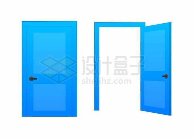 关闭和打开的蓝色房门大门木门5348835矢量图片免抠素材免费下载