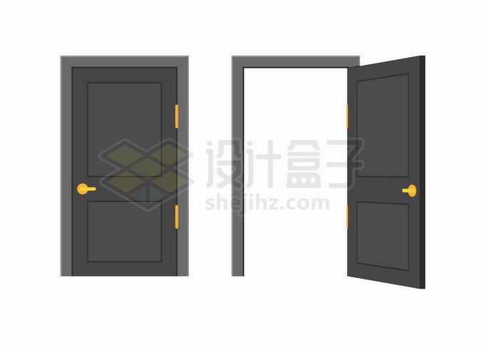 关闭和打开的黑色房门大门木门9042314矢量图片免抠素材免费下载