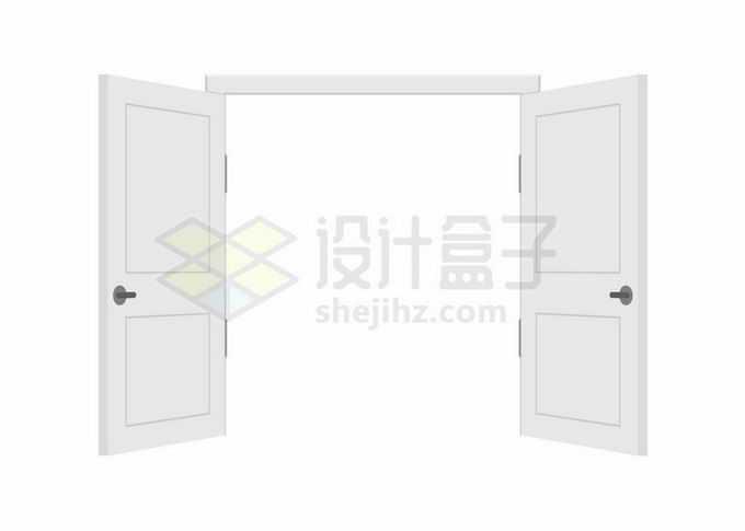 大门敞开的白色双开门木门9412166矢量图片免抠素材免费下载