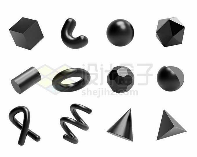 12款纯黑色金属光泽3D立方体形状6433149矢量图片免抠素材免费下载