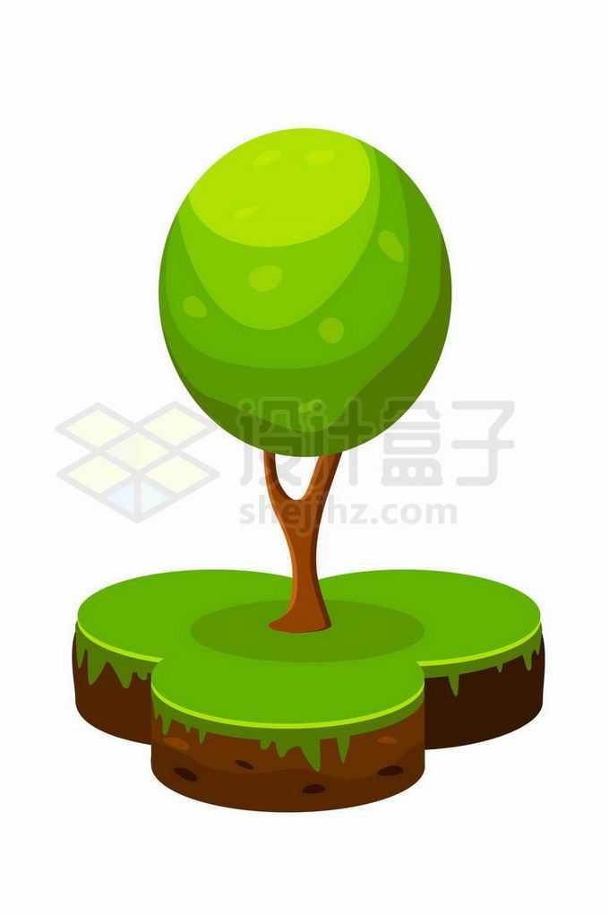 草地上的卡通大树绿树3571860矢量图片免抠素材免费下载