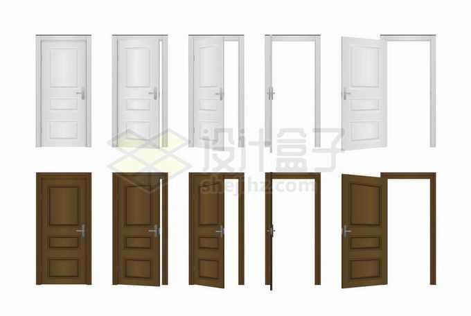 白色和褐色从关闭到打开房门大门木门的全过程5127774矢量图片免抠素材免费下载