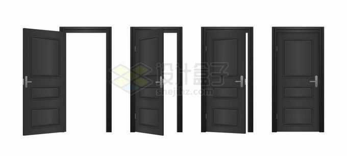 黑色大门房门木门从打开到关闭的全过程8372485矢量图片免抠素材免费下载
