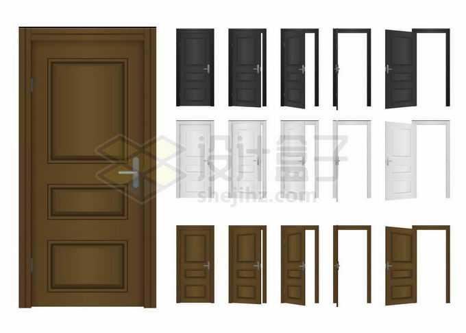 褐色白色黑色大门房门木门从打开到关闭的全过程8577998矢量图片免抠素材免费下载