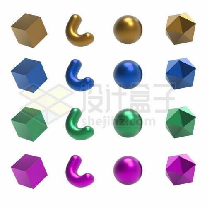 12款金色蓝色绿色红色彩色金属光泽3D立方体形状9829900矢量图片免抠素材免费下载