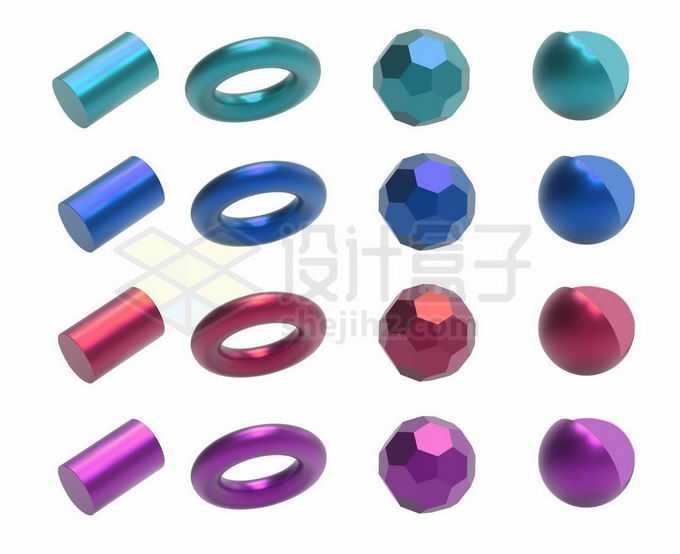 12款绿色蓝色红色玫红色彩色金属光泽3D立方体形状3661986矢量图片免抠素材免费下载