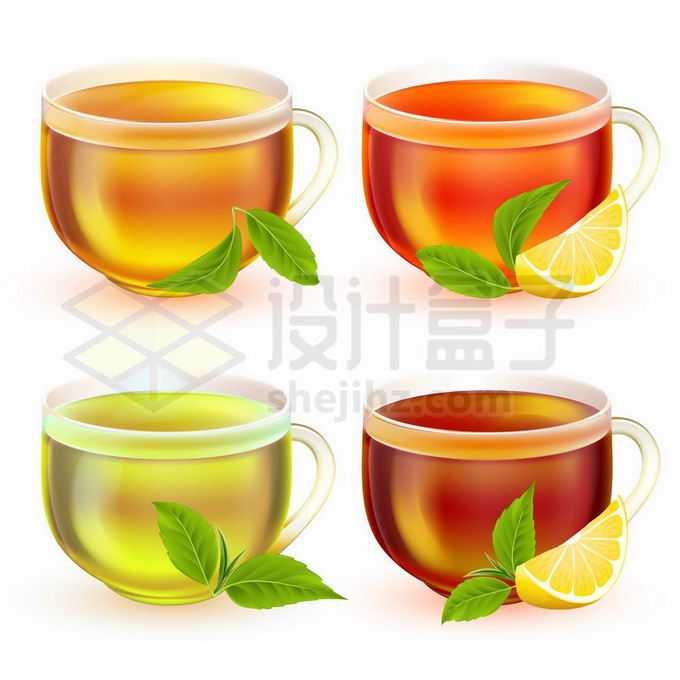 4杯磨砂玻璃杯茶杯中的红茶绿茶3542680矢量图片免抠素材免费下载