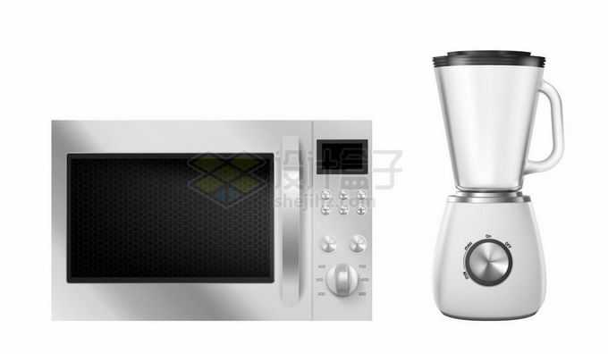 金属银色风格微波炉和榨汁机厨房家电6332362矢量图片免抠素材免费下载