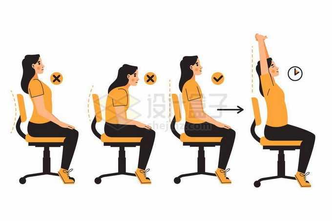卡通女孩正确和错误坐姿以及坐久要伸伸懒腰健康坐姿7307659矢量图片免抠素材免费下载