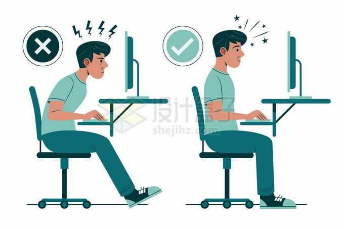 卡通男人用电脑时的错误和正确坐姿3358844矢量图片免抠素材免费下载