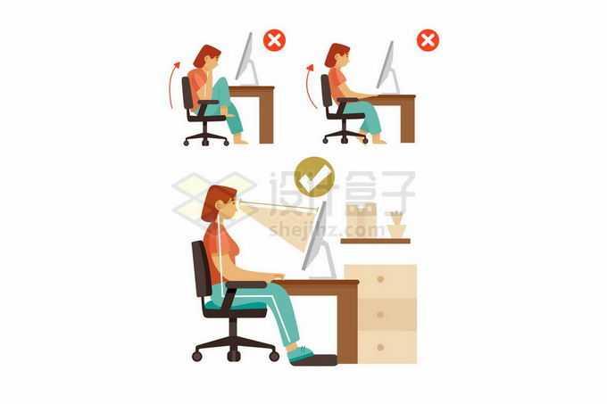 卡通女孩用电脑时的错误和正确坐姿3914475矢量图片免抠素材免费下载