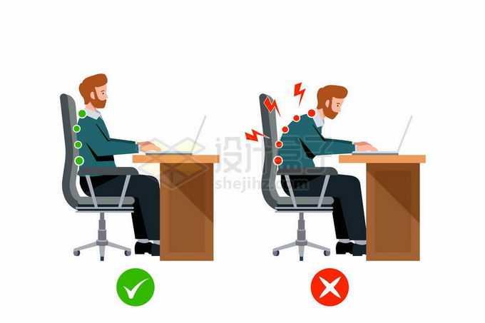 卡通男人用笔记本电脑的正确和错误坐姿对脊椎的伤害对比图4598744矢量图片免抠素材免费下载