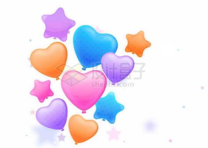 彩色心形和五角星气球装饰9293358矢量图片免抠素材免费下载