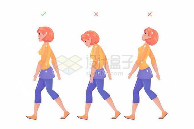 卡通女孩走路的正确和错误走路姿势对脊椎伤害对比图6741009矢量图片免抠素材免费下载