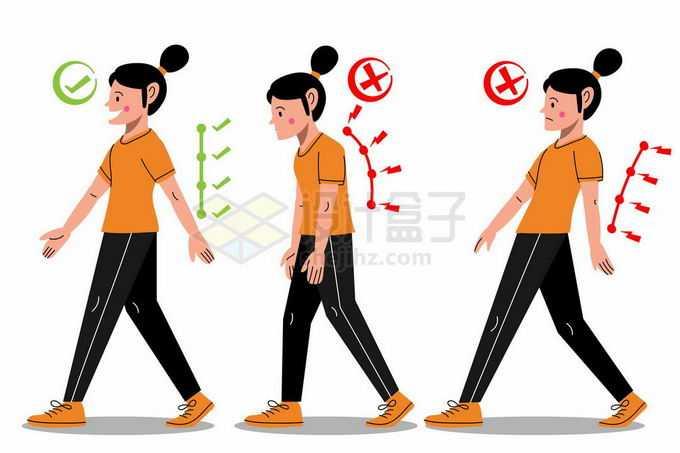 卡通女人正确和错误的走路姿势对脊椎的伤害对比图6734693矢量图片免抠素材免费下载