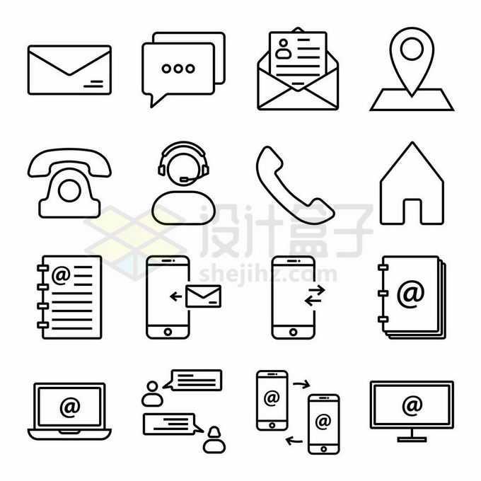 16款电子邮箱短信定位电话客服手机互传等线条图标8380235矢量图片免抠素材免费下载