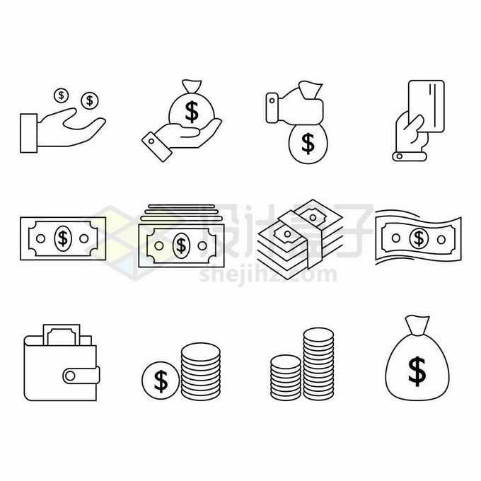 12款美元钞票银行卡钱包钱袋子等金融类线条图标6331993矢量图片免抠素材免费下载
