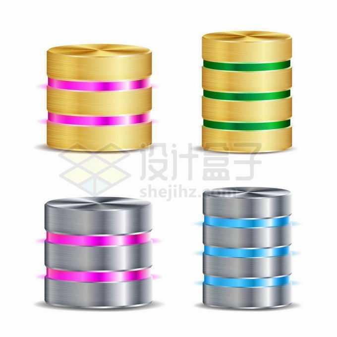 4款3D立体金属风格圆柱体数据存储4366044矢量图片免抠素材免费下载