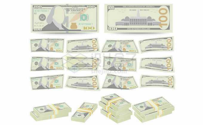 各种各样的卡通美元钞票7534926矢量图片免抠素材免费下载