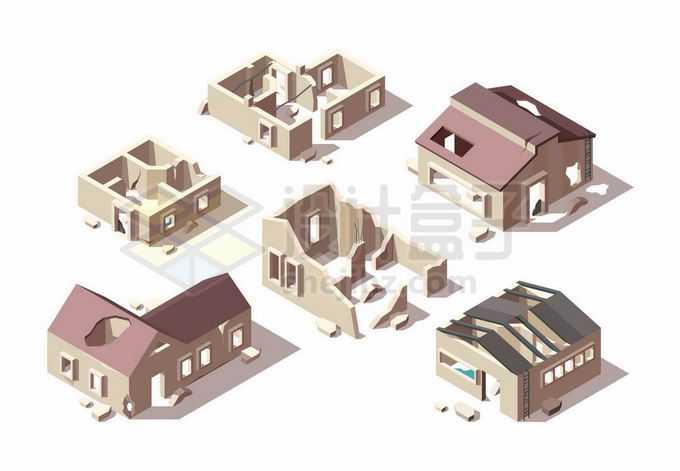 2.5D风格各种被毁坏倒塌的房子建筑废墟末日景象2377710矢量图片免抠素材免费下载