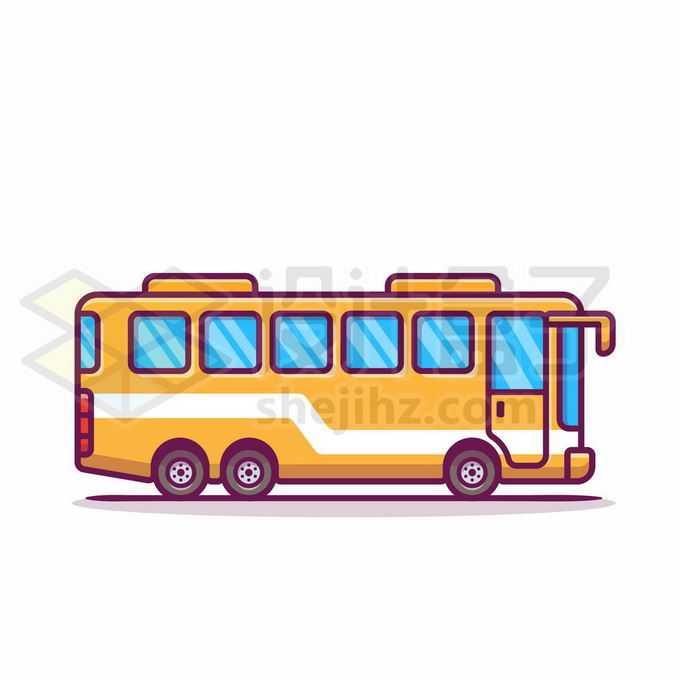 MBE风格黄色公交车大巴车6176914矢量图片免抠素材免费下载