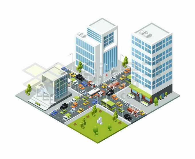 2.5D风格城市高楼大厦交通繁忙拥堵的十字路口大堵车上下班高峰期4151596矢量图片免抠素材免费下载