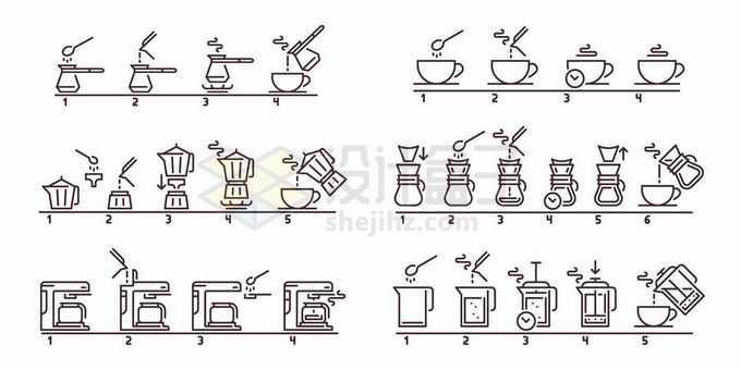 6款冲泡咖啡和茶叶线条流程图步骤图3611870矢量图片免抠素材免费下载