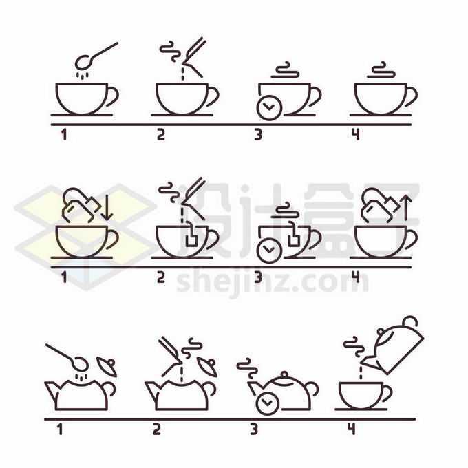 3款冲泡咖啡和茶叶线条流程图步骤图9995837矢量图片免抠素材免费下载