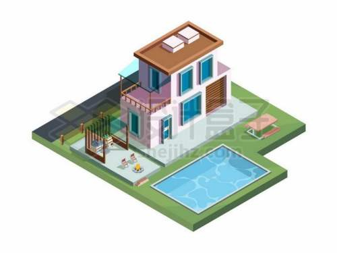 2.5D风格2层小楼别墅和院子里的游泳池6583779矢量图片免抠素材免费下载