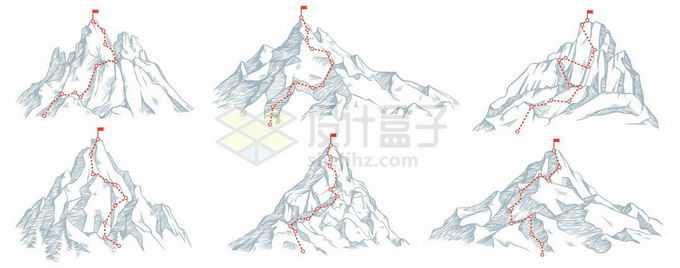 6款登山线路图和手绘风格高峰8878712矢量图片免抠素材免费下载