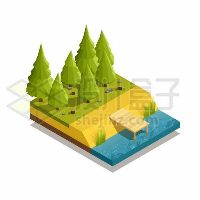 2.5D低多边形风格森林大树和河流2521734矢量图片免抠素材免费下载