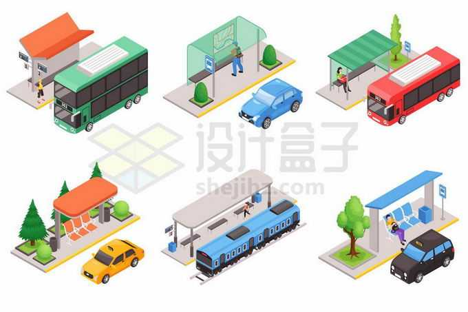 6款2.5D风格公交站台候车亭和停靠着的公交车出租车汽车等7711086矢量图片免抠素材免费下载