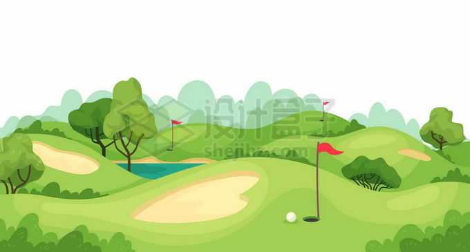 卡通远处的树林和近处的高尔夫球场草坪5299209矢量图片免抠素材免费下载