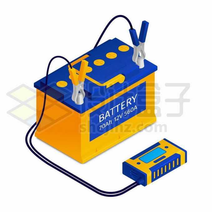 2.5D风格汽车电瓶蓄电池6986618矢量图片免抠素材免费下载