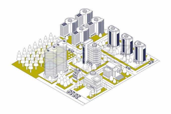 2.5D风格线条风格城市建筑高楼大厦和街道街区8264251矢量图片免抠素材免费下载