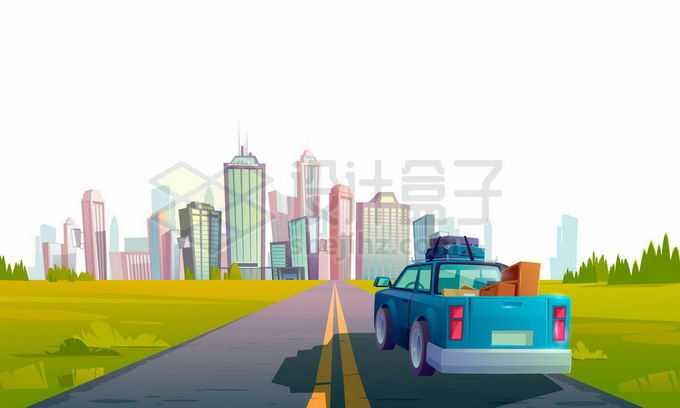 远处的城市高楼大厦天际线和通往城市的公路以及行驶的皮卡车4137350矢量图片免抠素材免费下载