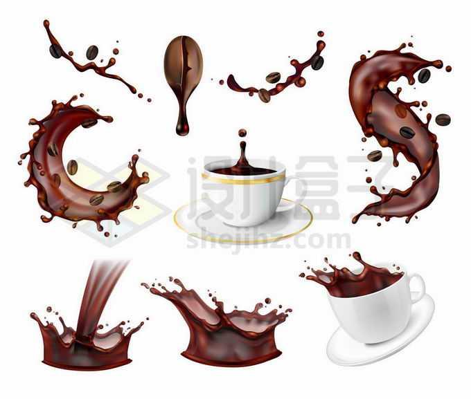 各种咖啡液滴飞溅的水花效果和咖啡杯美味饮料1375481矢量图片免抠素材免费下载