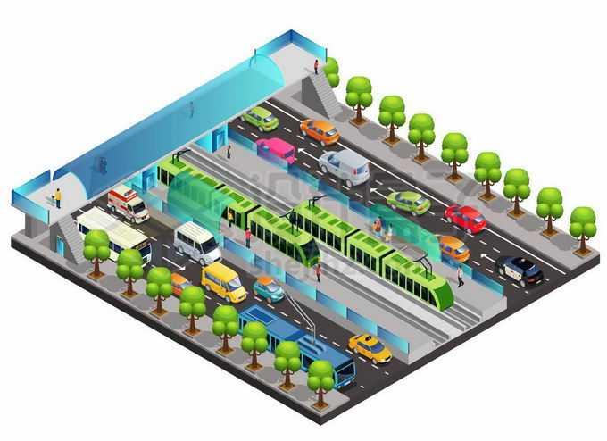 2.5D风格忙碌的道路城市轨道交通和过街天桥5545121矢量图片免抠素材免费下载