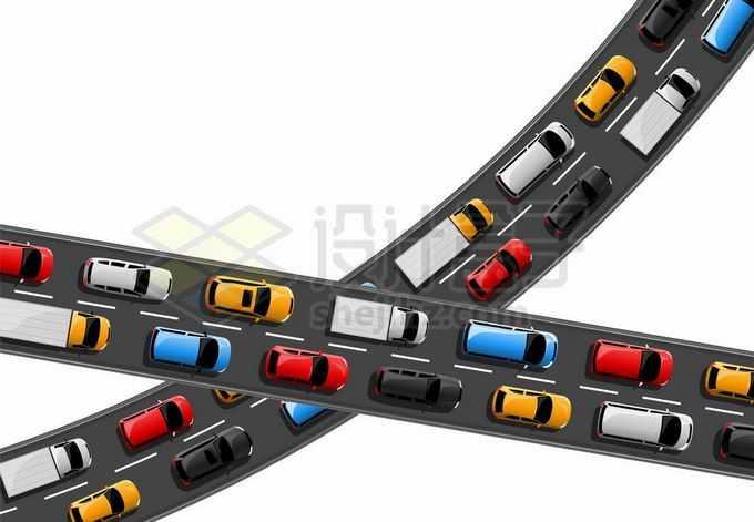 俯视视角的两条交叉的公路立交桥繁忙的城市交通2319458矢量图片免抠素材免费下载